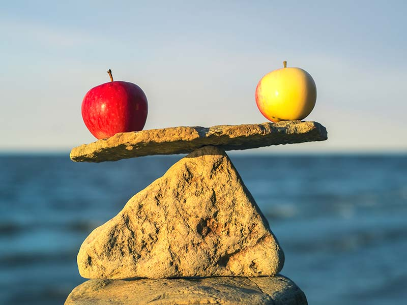 two apples balancing on a rock